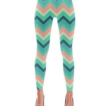 Pastel Teal Pink Tara Chevron Pattern Leggings