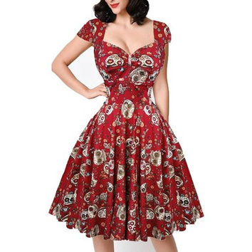 Women's Cut Out Deep V-Neck Swing Elegent Vintage Short Sleeve Retro Casual Cocktail Party 1950'S Retro Bridesmaid Dress S-XXL [9305814343]