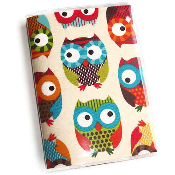 Passport Cover / Holder / Case - Natural Owls