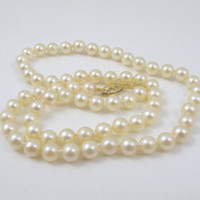 """14K Single Strand Pearl Necklace, Freshwater Cultured Pearls Yellow Gold Clasp 17,"""" 6mm, Wedding Bridal Pearl Jewelry"""