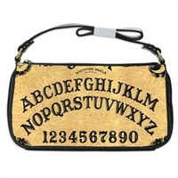 Vintage Ouija Witch Board Photo Handbag Shoulder Bag Black Leather