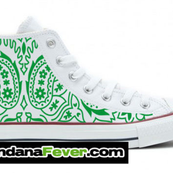 Converse Green Bandana Custom Graphic White Chuck Taylor Hi + FREE SHIPPING - by Bandana Fever