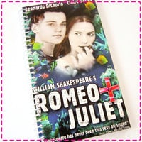 ROMEO and JULIET VHS Movie Video Original Recycled Notebook / Upcycled Journal - Spiral Bound and Eco Friendly - Vintage Circa 1996-