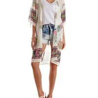 Floral Border Print Duster Kimono by Charlotte Russe