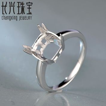 8.5MM Cushion Cut 14K White Gold  Semi Mount Engagement Ring Setting for free shipping