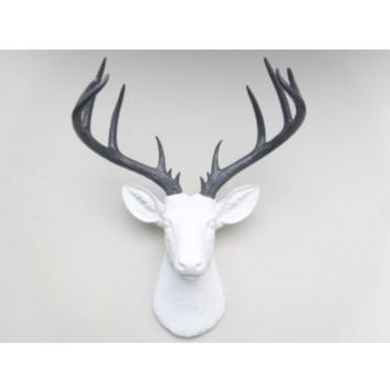 Large Deer Head White And Gray Wall Mount 14 Point Stag Antlers Fau