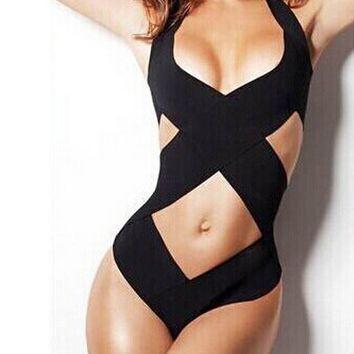Black Bandage One Piece Bikini B005547