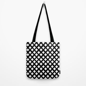 Rhombus: Black and White I Tote Bag by VickaBoleyn