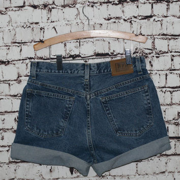 90s high waist denim shorts cut off medium wash distressed cuffed grunge festival 28 S M  boho hipster pastel goth festival