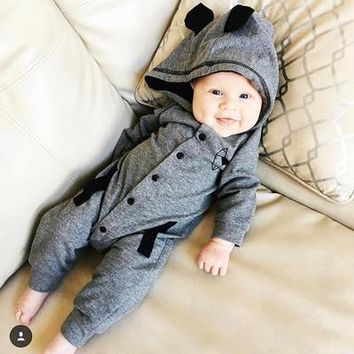 Baby Clothes 2018 Spring Winter New Baby Costume Fox Tail Cotton Baby Overalls Rompers Newborn Long Sleeve Clothes