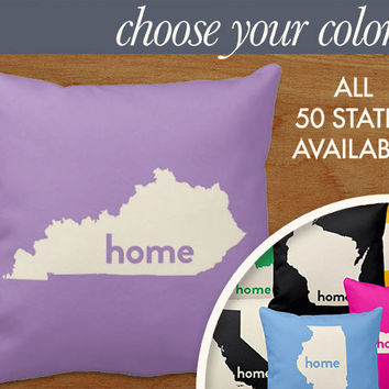 "Kentucky Home State Pillow - State Map Throw Pillow, 16x16"" or 20x20"" pillow or pillow cover - laurenmary original design"
