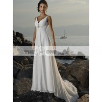 Empire Waist Wedding Gown V-neck with Elegant Beading Chapel Train