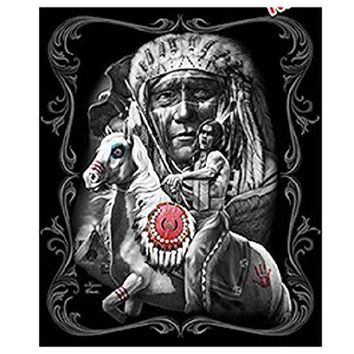 DGA Day of the Dead Native American Defiance Horse Warrior Lightweight Queen Size Plush Blanket