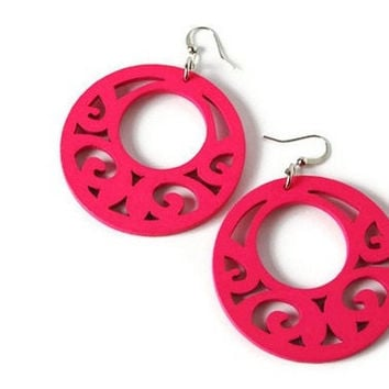 Bright Pink Wood Earrings, Boho Earrings, Neon Jewelry. Wood Earrings in Neon Pink