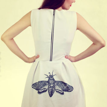 Pin up Style Moth Print White Summer Dress - Free Shiping!!! made to order size S/M