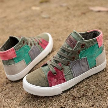 Fashion Sneakers High Top Women Casual Shoes Patchwork Ladies Canvas Shoes Female Trainers Canvas Espadrilles Sapato Feminino