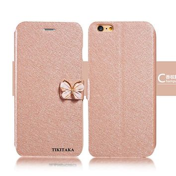 7 Plus Luxury Leather Wallet Stand Flip Case For iPhone 7 Plus Phone Cases Fashion Bling Butterfly bow knot Cover With Card Slot