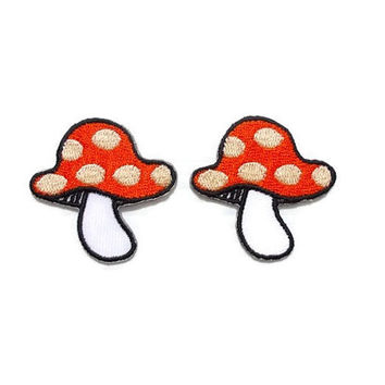 Set 2pcs. Little Orange Mushroom Super Cute Patch New Sew on / Iron On Patch Embroidered Applique Size 4cm.x3.9cm.
