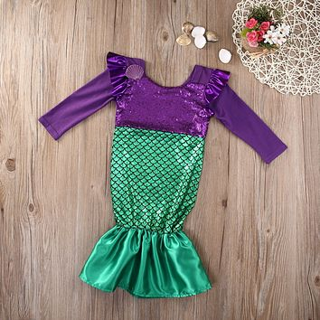 Girls Little Mermaid Trumpet Sequins Fancy Dress Costume Party Cosplay Kid Girl Dress Spring Autumn Long Sleeve Girls Dress 3-7T