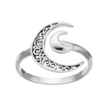 PRIMROSE Sterling Silver Crescent Moon Ring | null