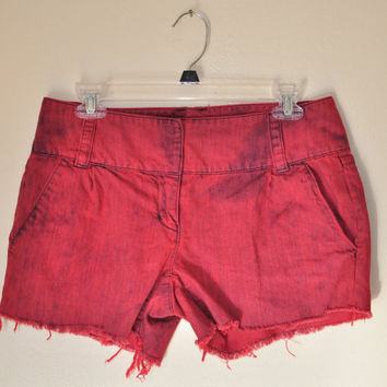 DENIM SHORTS  - Hand Dyed Raspberry Red Urban Style Distressed Lo Rise Denim Vintage Shorts -  Size 4 (32)