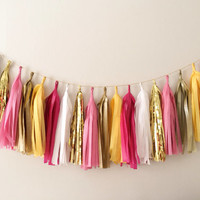 Yellow Pinks and Golds Tassel Garland - Spring Decor, Easter Decor, Birthday Party Decor, Weddings, Nursery, Baby Shower, & Photo Props