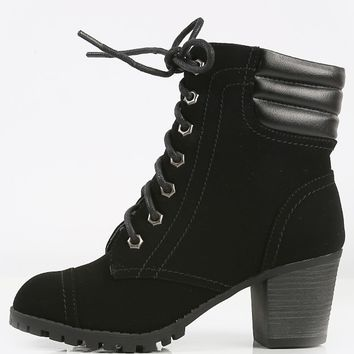 Bamboo Baxter-14L Laced Outdoor Heel Booties