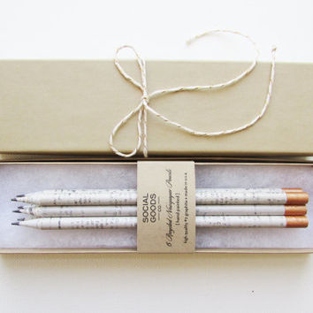 Recycled Pencil Set // Copper Paint Dipped // Back to School Gift