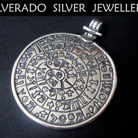 Sterling Silver 925 Ancient Greek Minoan Phaistos Disc BIG Pendant 54 mm