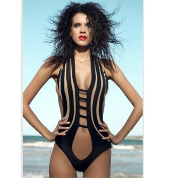 Black hollow out swimming suit for women  new monokini push up swimsuit women high cut sexy one piece swimwear S-XL
