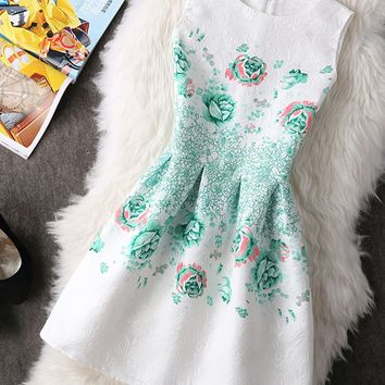 Casual Round Neck Attractive Inverted Pleat Floral Printed Skater Dress