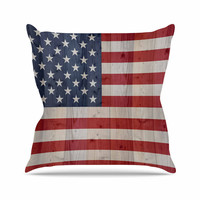 "Bruce Stanfield ""USA Flag On Spruce"" Blue Red Throw Pillow"