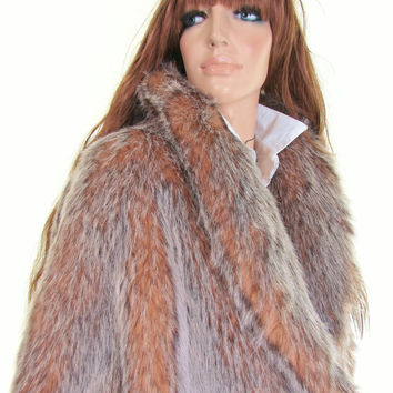 shaggy monster fox fur coat | vintage faux fur | silver + fawn | rocker chic | oversized coat | stroller | outerwear | swing coat | l | xl