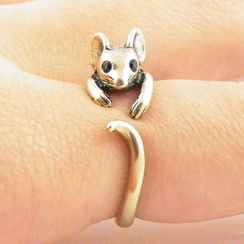 Animal Wrap Ring - Mouse - Yellow Bronze - Adjustable Ring - keja jewelry