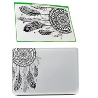 Retro Feather Art Pattern Vinyl Decal Black Laptop Sticker For Macbook Air Laptop