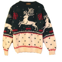 Vintage Reindeer Sweater - Eddie Bauer 1990 Wool Christmas Holiday Sweater