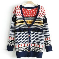 Sen female line double jacquard deep V long-sleeved cardigan BAHD