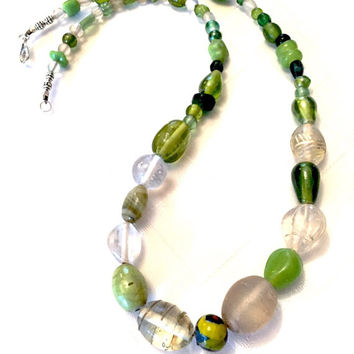 Green Necklace - Green Beaded Necklace - Light Green Beads - Simple Necklace - Dark Green Beads - Multi Colored Beads - Shades Of Green