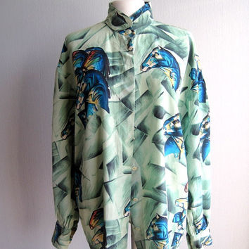 Escada silk blouse blue green abstract geometric horses pattern vintage fashion