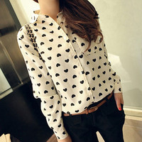 Heart Print Long Sleeves Turn-down Collar Slim Chiffon Blouse