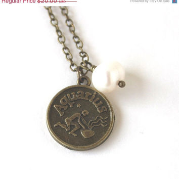 VALENTINES DAY SALE Aquarius astrology zodiac star sign charm and white pearl antique bronze necklace