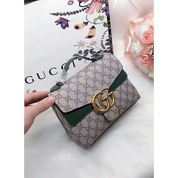 GUCCI 2018 counter new trend fashionable women's exquisite handbag F-AGG-CZDL Green