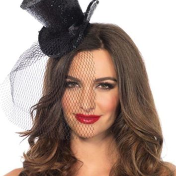 MDIGH3W Mini Top Hat With Veil in BLACK