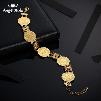 Gold Color Coin Bracelet for Women Men Middle Eastern Jewelry
