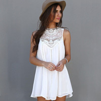 Summer Round-neck Chiffon Sleeveless One Piece Dress = 4807126340