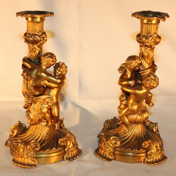 Pair of Gilded Bronze Candle Holders