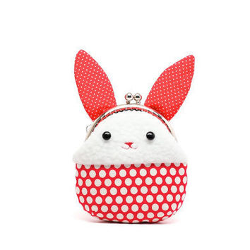 Little red rabbit plush mini pouch by misala on Etsy