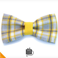 "Pet Bow Tie - ""Boardwalk"" - Yellow & Gray Plaid Tartan Detachable Bowtie for Cats + Dogs"