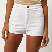 White high waisted shorts - denim shorts - shorts - women