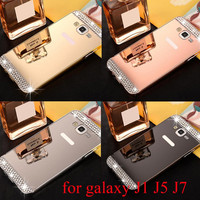 For samsung galaxy J1 J5 J7 Slim Metal Aluminum Alloy Frame bling Mirror Acrylic  Back Cover Case For galaxy J1 J5 J7
